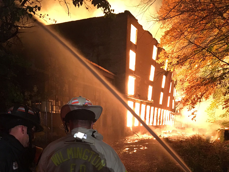 Fire ripped through several buildings at the vacant Bancroft Mills complex in Wilmington. (Photo: Delaware Free News)