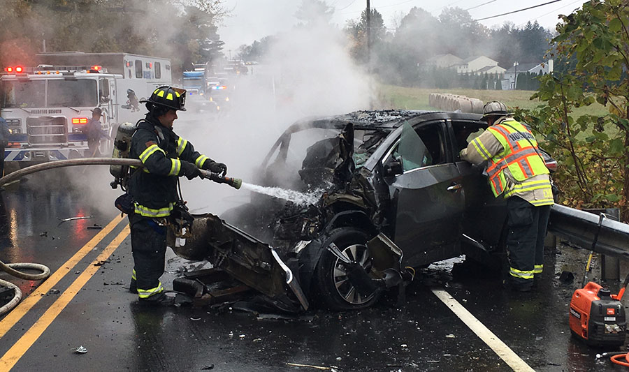 The driver of this vehicle died in head-on crash with dump truck on Lancaster Pike in Hockessin. (Photo: Delaware Free News)