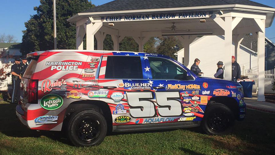 Harrington's new community policing vehicle was unveiled Friday at Freedom Park. (Photo: Harrington police)