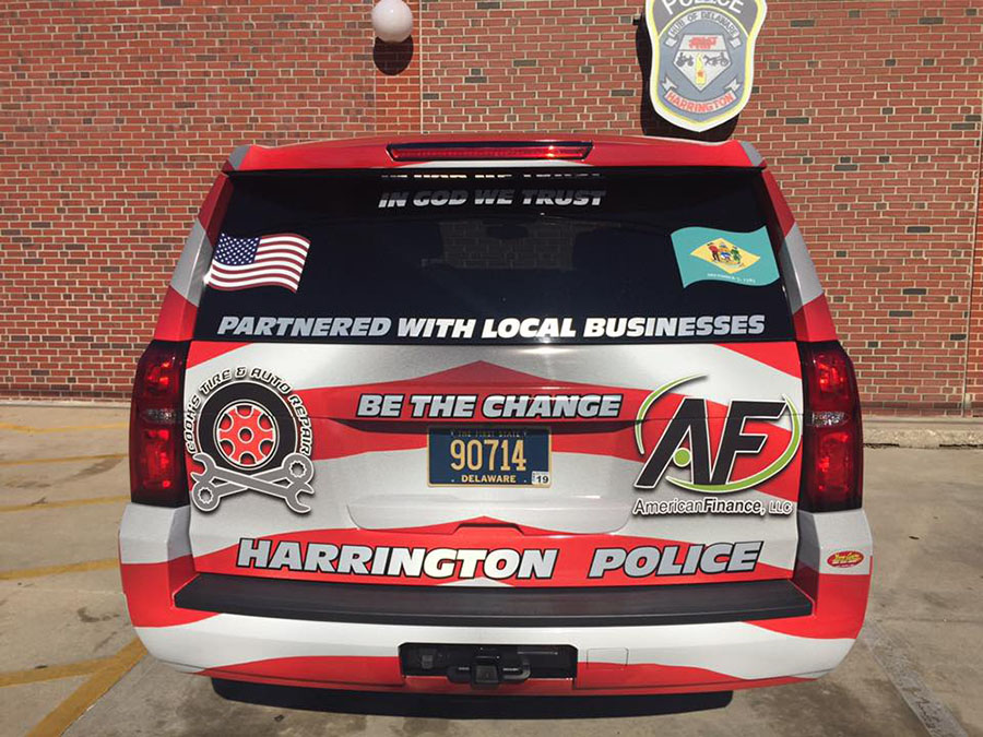 Harrington's new community policing vehicle was unveiled Friday. (Photo: Harrington police)