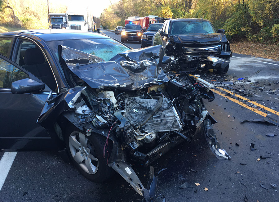 Pickup and car collided on Lancaster Pike (Route 41) at School House Lane in Hockessin. (Photo: Delaware Free News)