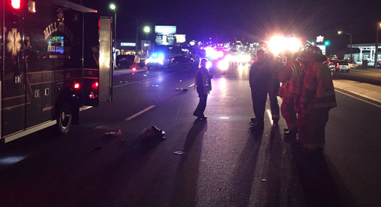 Pedestrian was struck by a car in eastbound lanes of Kirkwood Highway east of Duncan Road. (Photo: Delaware Free News)