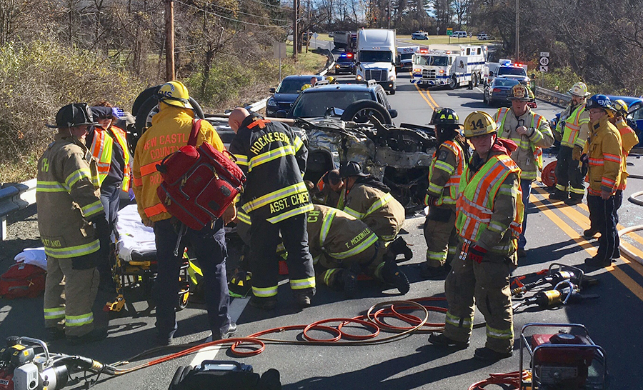 Three vehicles were involved in crash on Lancaster Pike near Sanford School. (Photo: Delaware Free News)