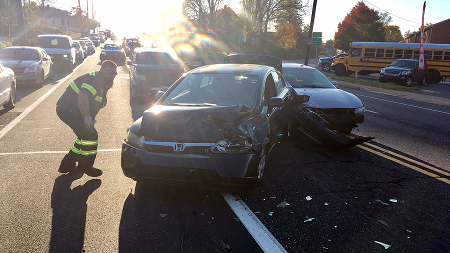 Crash scene on East Newport Pike (Route 4) at Becker Avenue near Newport (Photo: Delaware Free News)