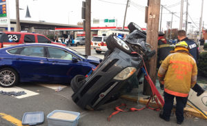 Crash scene at Justis and James streets in Newport (Photo: Delaware Free News)