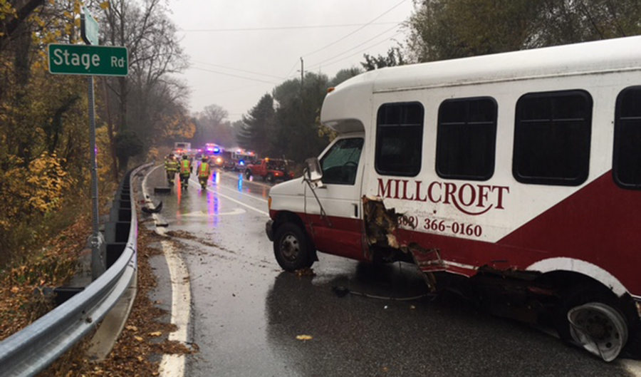 Car and bus collided on Paper Mill Road (Route 72) at Stage Road. (Photo: Delaware Free News)