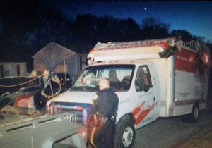 U-Haul rental truck was heavily damaged when it hit railroad overpass on Casho Mill Road in Newark. (Photo: Delaware Free News)