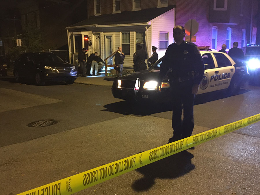 Wilmington police investigate shooting at 28th and Carter streets. (Photo: Delaware Free News)