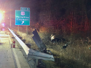Car went off southbound Interstate 495 in Claymont, overturned and caught fire. (Photo: Delaware Free News)