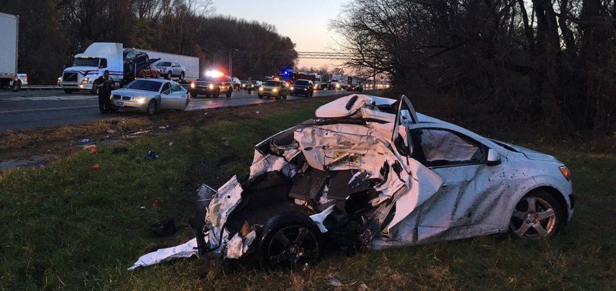 Crash scene on southbound I-95 south of Route 141 (Photo: Delaware Free News)