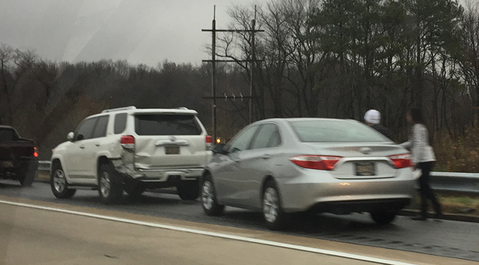 Crash scene on northbound Route 1 south of Tybouts Corner (Photo: Delaware Free News)