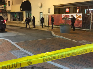 Wilmington police investigate shooting at Seventh and Market streets. (Photo: Delaware Free News)