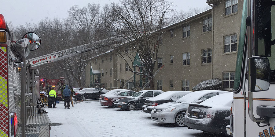 Fire broke out at Hunters Crossing Apartments on Fairway Road east of Newark. (Photo: Delaware Free News)