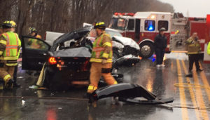 Two vehicles were involved in crash on Route 141 (Powder Mill Road) near Alapocas Drive. (Photo: Delaware Free News)