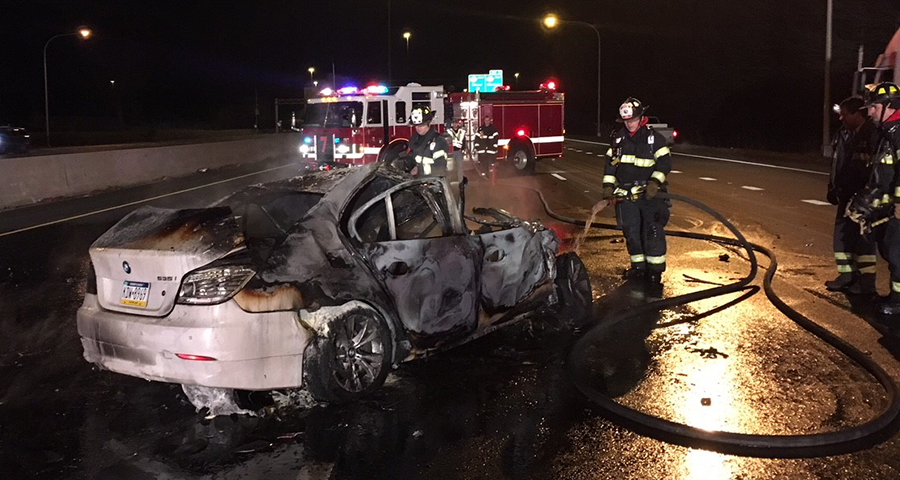 Driver escaped before car burst into flames after colliding with tractor-trailer on Interstate 95 near Route 273. (Photo: Delaware Free News)