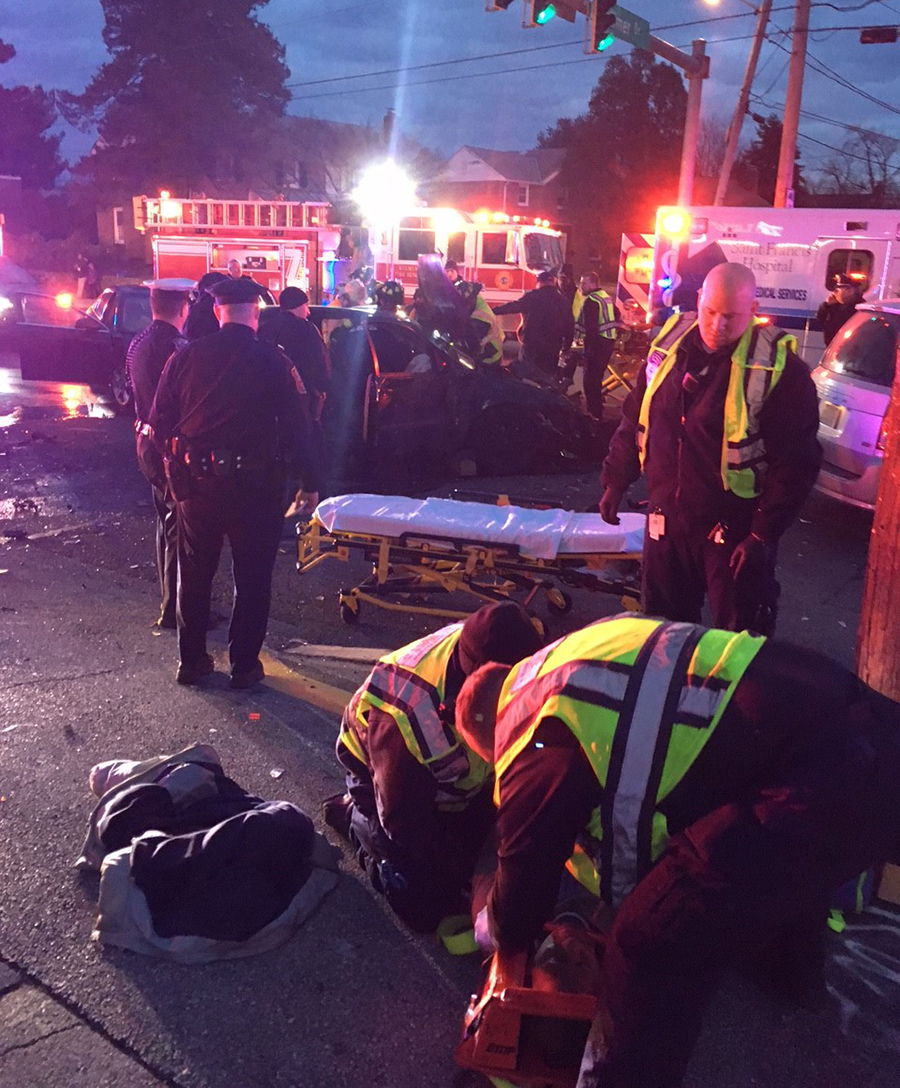 Car fleeing police was involved in crash on Maryland Avenue at Broom Street in Wilmington. (Photo: Delaware Free News)