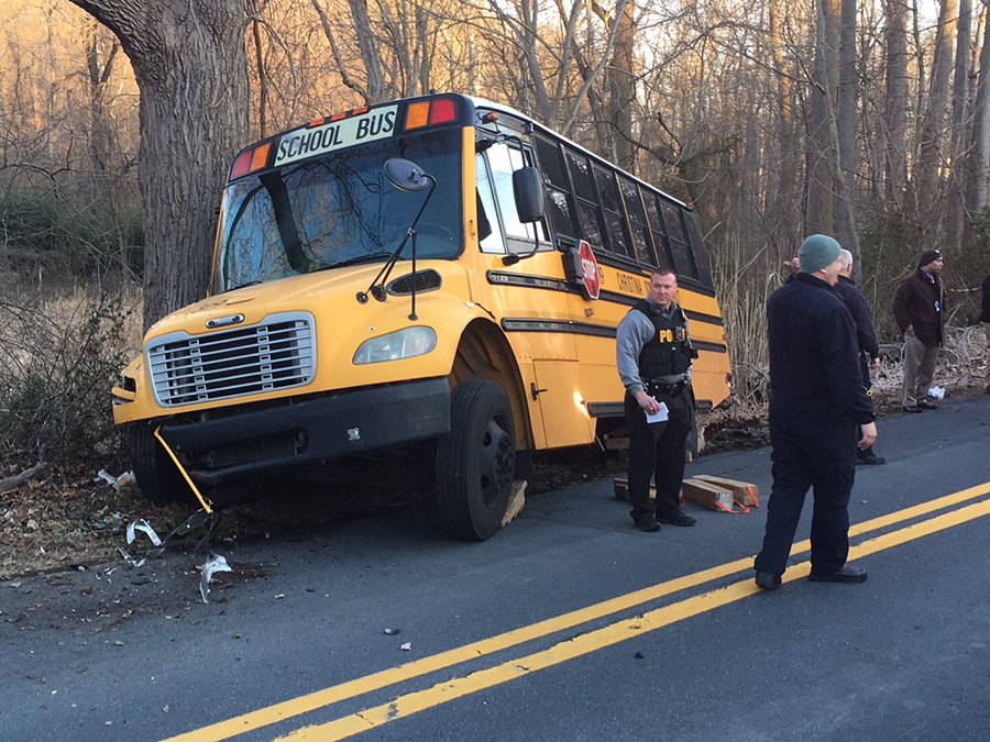 Christina School District bus crashed into tree on Upper Pike Creek Road in Pike Creek. (Photo: Delaware Free News)