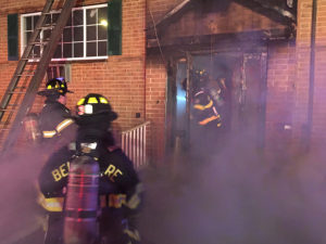 Fire broke out in vacant apartment building in the 1300 block of Maple Ave. in Elsmere. (Photo: Delaware Free News)