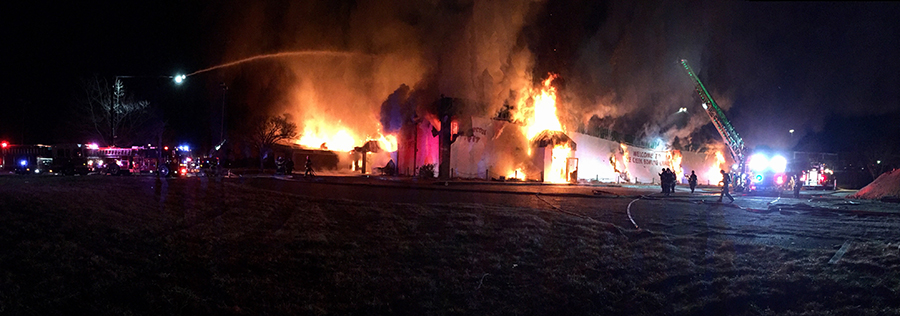 Fire destroyed former Pike Creek Bowling Center and Charcoal Pit restaurant building. (Photo: Delaware Free News)