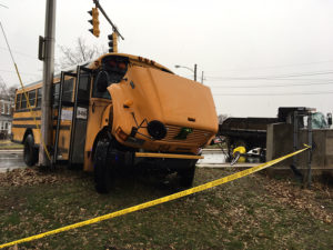 Christina school bus and dump truck collided at D and South Heald streets in Wilmington. (Photo: Delaware Free News)