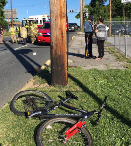 Bicyclist and minivan collided in 3400 block of Lancaster Pike. (Photo: Delaware Free News)