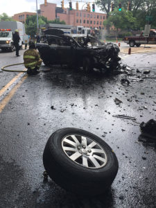 One car burst into flames after a head-on collision on the Tyler McConnell Bridge. (Photo: Delaware Free News)