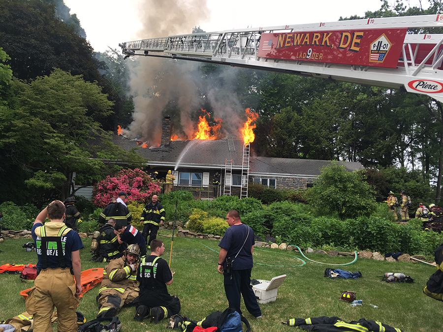 Firefighters battle flames at home on Neptune Drive in North Star. (Photo: Delaware Free News)