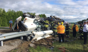 Crane truck overturned on southbound Route 1 in Bear. (Photo: Delaware Free News)