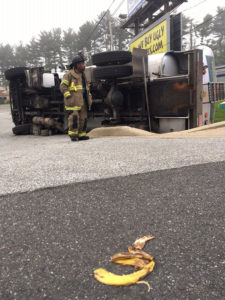 Fuel truck overturned when it backed into a culvert along Capitol Trail (Route 2) just west of Upper Pike Creek Road. (Photo: Delaware Free News)