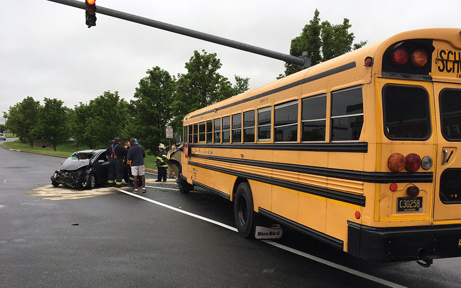 School bus and car collided at Harmony Road and Ruthar Drive. (Photo: Delaware Free News)