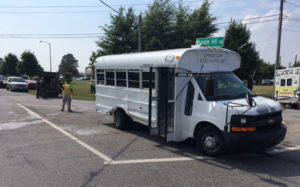 Pickup struck passenger side of bus as it was turning from Wrangle Hill Road onto River Road. (Photo: Delaware Free News)