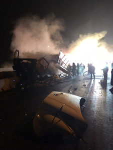 Tractor-trailer wreck and fire caused delays on northbound I-95 near Newport. (Photo: Delaware Free News)