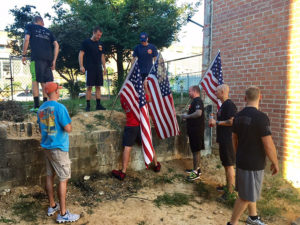 Flags were placed one year after Sept. 24, 2016, blaze that killed three Wilmington firefighters on Lakeview Drive in Canby Park. (Photo: Delaware Free News)
