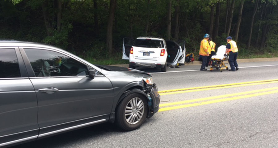 Two vehicles were involved in crash on New Linden Hill Road in Pike Creek. (Photo: Delaware Free News)