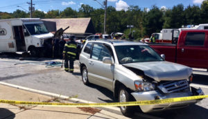 Four vehicles were involved in chain-reaction crash on South College Avenue south of Welsh Tract Road. (Photo: Delaware Free News)