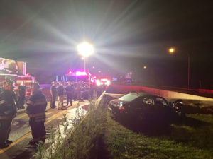 A man was killed when the Mercedes he was driving crashed and caught fire on Route 1 at Route 273. (Photo: Delaware Free News)