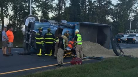 Dump truck overturned after colliding with an SUV on U.S. 113 north of Millsboro. (Photo: Delaware State Police)