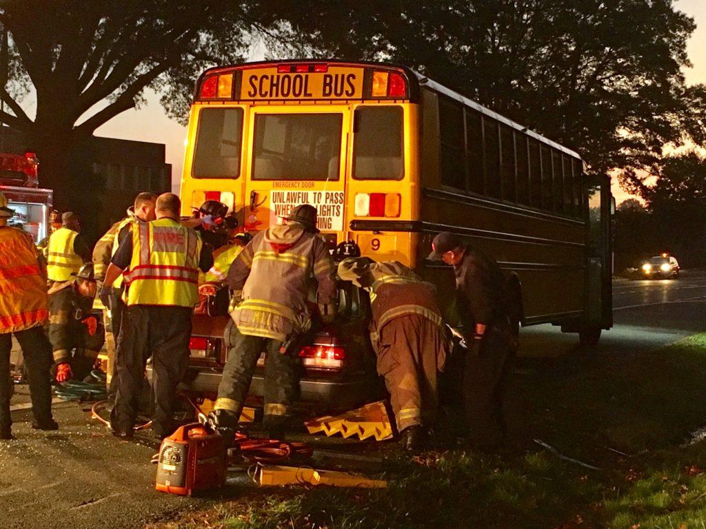 School bus crash on Boxwood