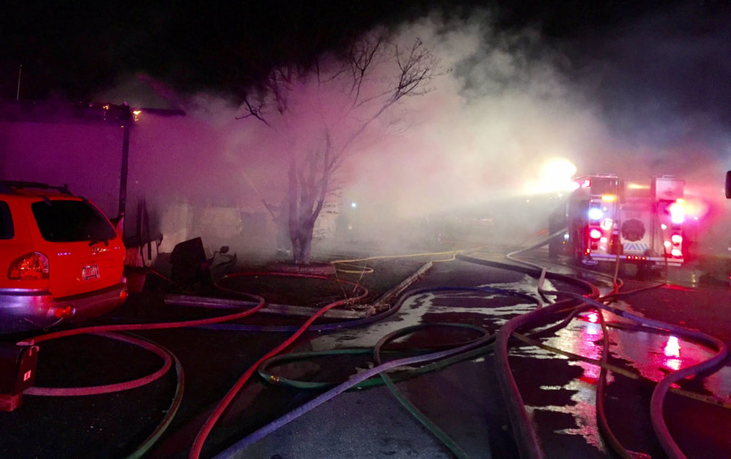 Fire broke out in the 900 block of Tenth Ave. in the Murray Manor Trailer Park. (Photo: Delaware Free News)