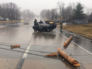 Car hit utility pole and rolled over at New Castle Avenue (Route 9) and May Avenue near New Castle. (Photo: Delaware Free News)